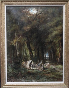 Encampment in a Wooded Landscape- French 19thC Barbizon School oil painting art