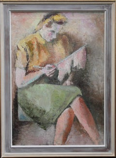 Girl Knitting - Post-Impressionist 40's oil painting portrait Jewish artist