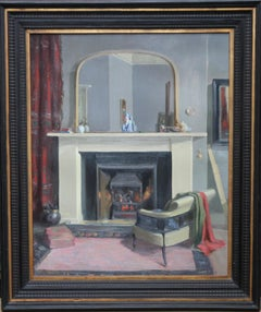 Scottish Interior - Realist 20's oil painting artist's home exhibited work fire