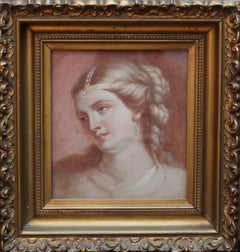 Portrait of a Lady - Old Master Scottish oil painting woman braided hair