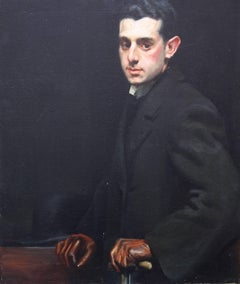 Portrait of a Gentleman - Early 20thC Oil painting man top hat gloves cane coat