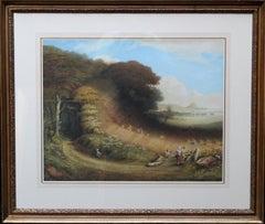 St. Michael's Mount- British 19thC painting pastoral landscape children Cornwall
