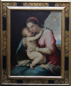 Madonna and Child - Old Master oil painting French School - Religious Portrait