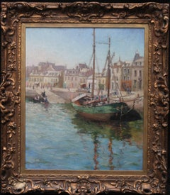 Harbour Scene - Scottish Post Impressionist oil painting quayside boats people