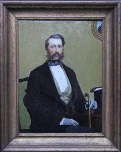 Francis Elliot Voyle - British 1916 oil painting seated portrait top hat cane