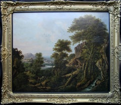 Capriccio Arcadian Landscape - Dutch Old Master oil painting travellers animals