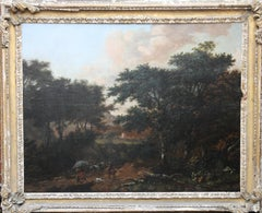 Travellers in a Wooded Landscape - Old Master Dutch oil - wagon horse dogs trees