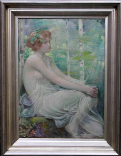 A Welsh Maiden Scottish classical Pre-Raphaelite Victorian oil painting portrait