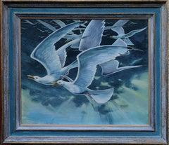 Seagulls - British 60's Surealist painting birds flight sea sky blue art