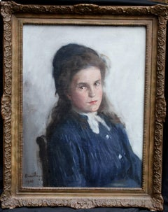 Portrait of a Girl - Scottish Edwardian Impressionist oil painting child blue