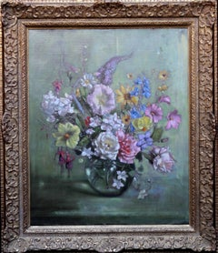 Mixed Bunch - British oil painting still life floral roses mallow fushia 1930's