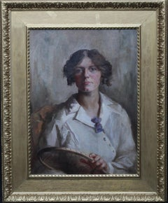 Portrait of Female Tennis Player - British Edwardian oil painting female artist