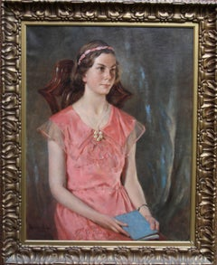 Betty in Pink - Daughter Graham White - British 30's exh. portrait oil painting