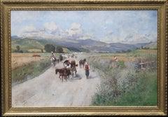 Italian landscape - Austrian 19thC Impressionist oil painting hill horse people