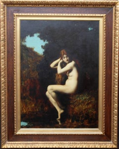 Nude in Landscape-French 19thC Impressionist Art Victorian sfmuato oil painting
