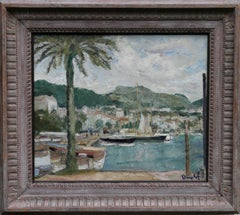 Sanary-sur-Mer France - Irish Impressionist art 30s oil painting boating marine