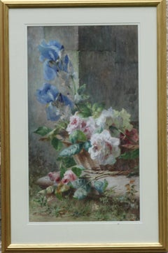 Irises and Roses in Basket - Italian 19thC painting floral still life blue pink