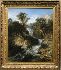 Waterfall- British art 19th C oil painting Welsh mountainous landscape shepherd