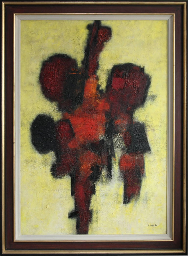William Gear Abstract Painting - Red Idol - British art 50's abstract oil painting - Modernist COBRA
