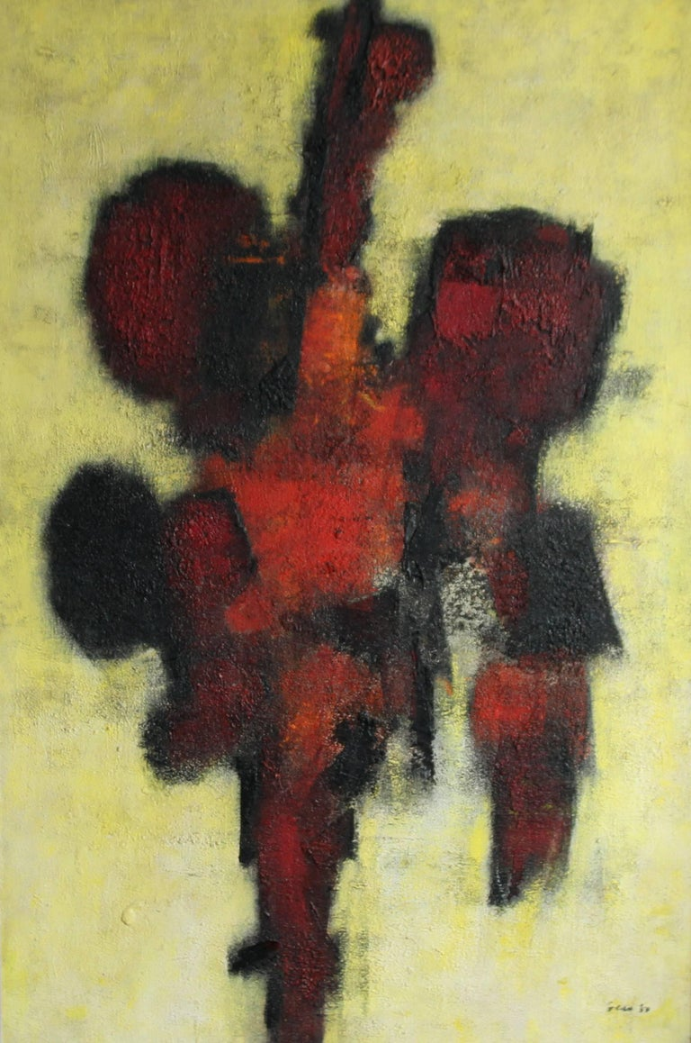 Red Idol - British art 50's abstract oil painting - Modernist COBRA - Painting by William Gear