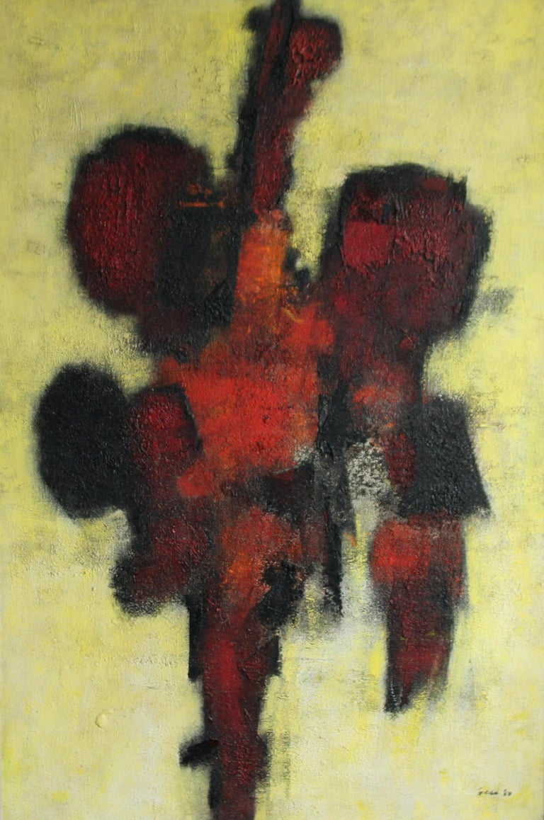 Red Idol - British art 50's abstract oil painting - Modernist COBRA - Abstract Painting by William Gear