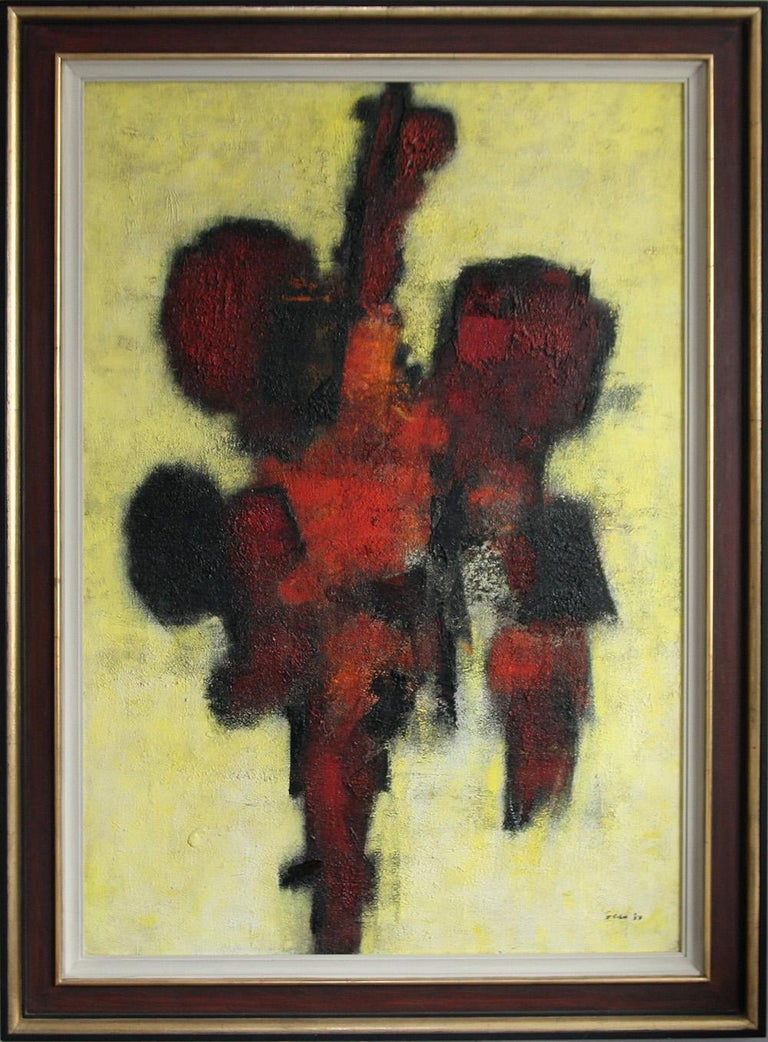 Red Idol - British art 50's abstract oil painting - Modernist COBRA - Beige Abstract Painting by William Gear