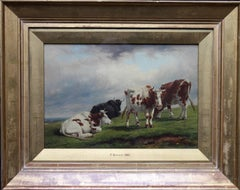 Deer Park Landscape with Cattle - British mid 19thC oil painting cows hillside