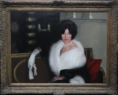 Mrs Rona Lucas Nee Levey - Britsh art 50s oil painting seated interior portrait