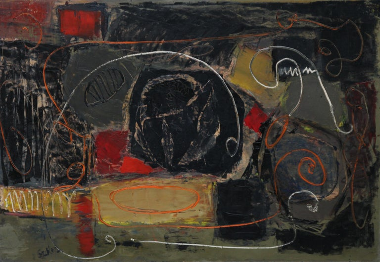 Abstract - British art 50's Abstract Expressionist oil painting  - Painting by Robert Sadler