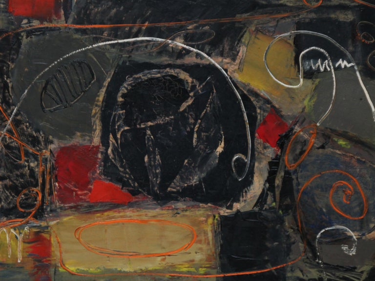 This stunning Abstract Expressionist oil painting is by British artist Robert Sadler and is from the late 50's. This is a fantastic example of his work and mixes abstraction with figurative landscape lines. Signed lower left.  Housed in a slim gold