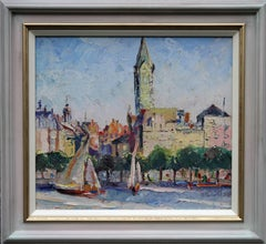 The Alster Hamburg - Scottish 30's Expressionist oil painting riverscape Germany