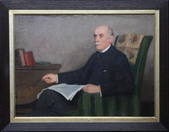 Portrait of a Seated Gentleman - British art Edwardian interior oil painting