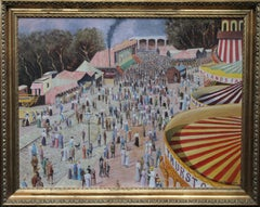 Thurstons Fun Fair Cambridge - British Post Impressionist Post War oil painting
