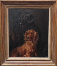 Two Retrievers - British dog art portrait 1930's oil painting Labrador Cocker