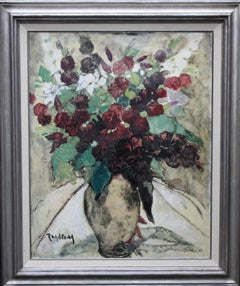 Floral Still Life - Belgian art 20's Post Impressionist oil painting flowers