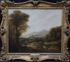 Cattle and Drover in a Landscape - British art Victorian landscape oil painting