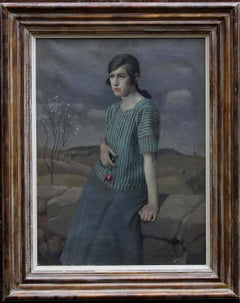Clara - British Art Deco 20's female portrait landscape Newlyn oil painting