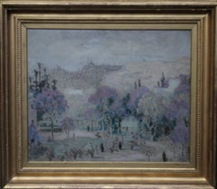 View of Istanbul Turkey-Irish art 30's Post Impressionist landscape oil painting