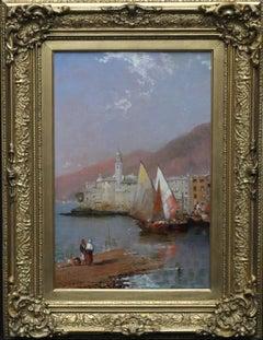 Camogli Italian Riviera - British art Victorian marine boats oil painting Italy