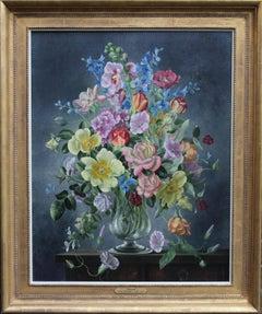 Summer Arrangement - British art 30's oil painting floral still life roses tulip