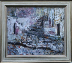 Spanish Wedding - British 50s oil painting bride cobbled street Valentine's gift