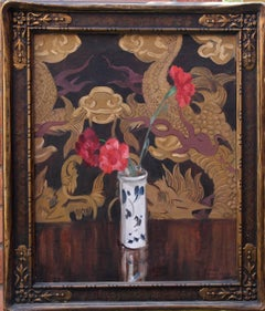 Still Life with Flowers-Scottish Glasgow school Art Deco Valentines oil painting