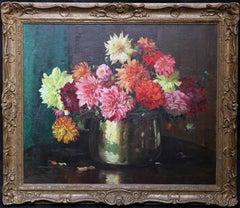 Dahlias - British Impressionist Art Deco floral oil painting Valentine's gift