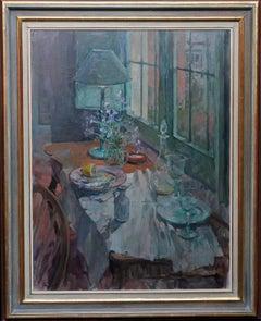 Still life - British art Impressionist interior oil painting flowers fish blue