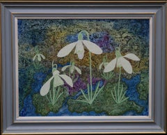 Snowdrops - British 60s Surrealist art spring floral oil painting female artist
