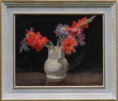 Gladioli - British art 1920's Impressionist floral oil painting red flowers