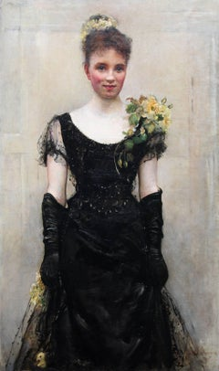 The Debutante - British oil portrait Elsie Elizabeth Ebsworth - Valentine's gift