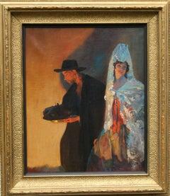 Spanish Wedding Festival - Spanish art 1920's oil painting wedding day portrait