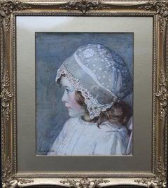 Portrait Girl in Lace Bonnet -British Edwardian Newlyn School exh Valentine gift