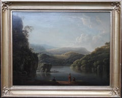 Glamorganshire from the Britton Ferry - British old master landscape oil 18th C